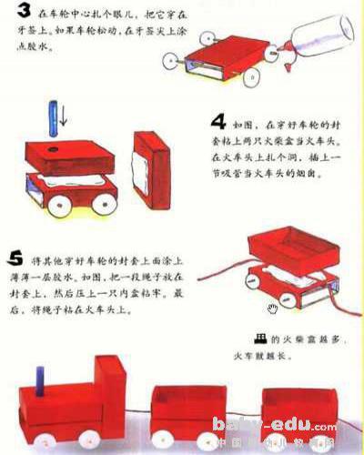 幼儿园教具制作:红色小火车